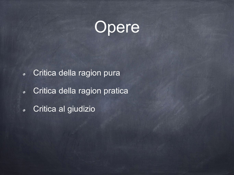 Opere Critica della ragion pura Critica della ragion pratica