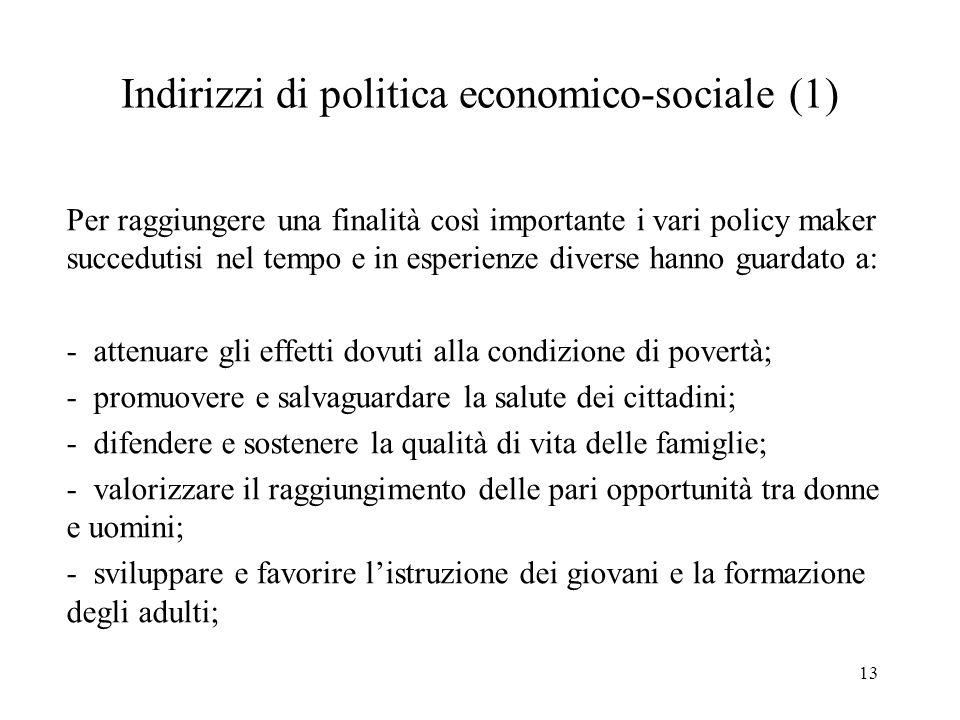 Indirizzi di politica economico-sociale (1)