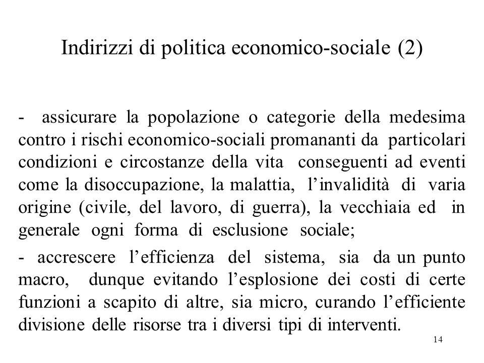 Indirizzi di politica economico-sociale (2)