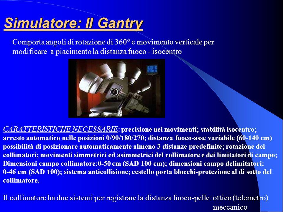Simulatore: Il Gantry Comporta angoli di rotazione di 360° e movimento verticale per. modificare a piacimento la distanza fuoco - isocentro.
