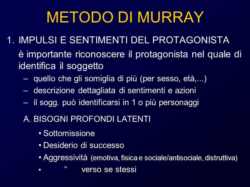 METODO DI MURRAY IMPULSI E SENTIMENTI DEL PROTAGONISTA