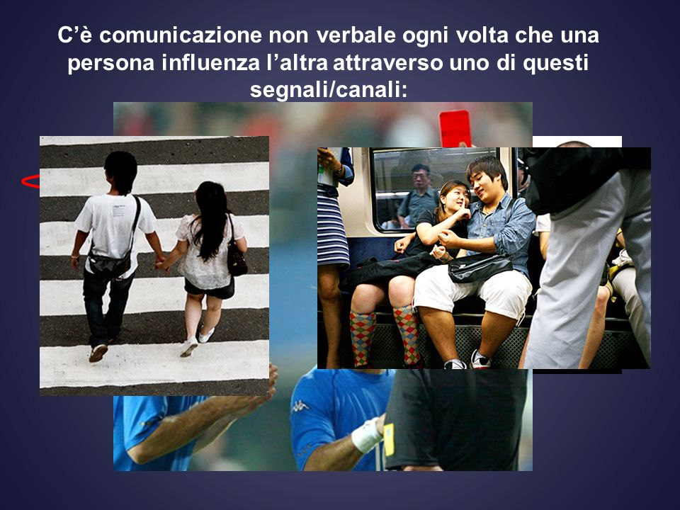 C'è comunicazione non verbale ogni volta che una persona influenza l'altra attraverso uno di questi segnali/canali: