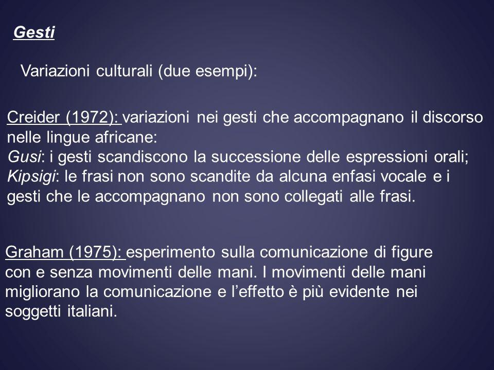 Gesti Variazioni culturali (due esempi): Creider (1972): variazioni nei gesti che accompagnano il discorso nelle lingue africane: