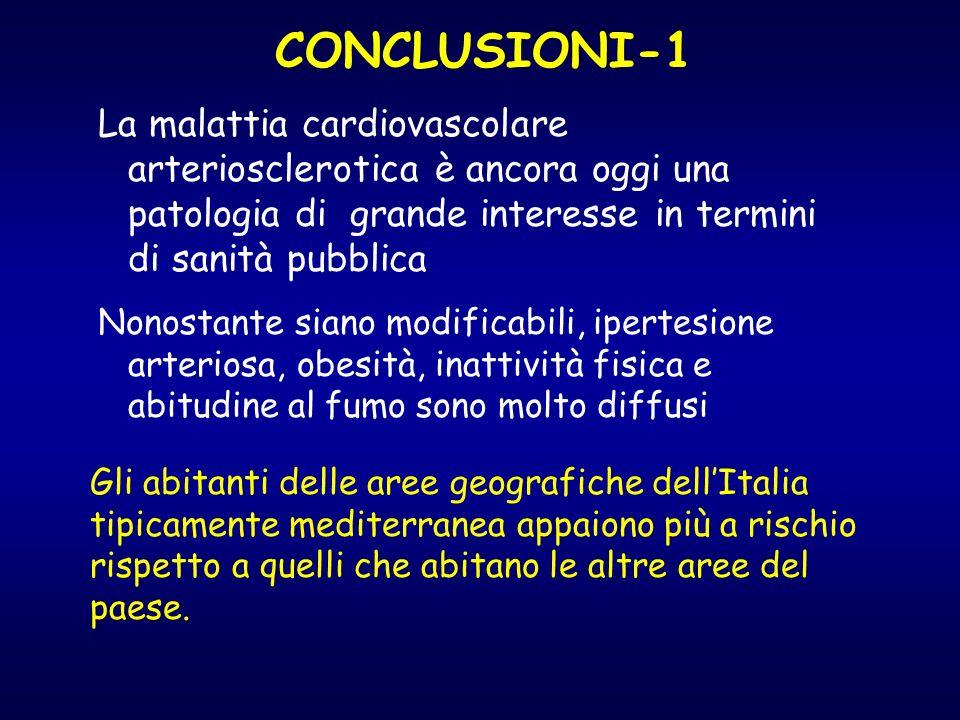 CONCLUSIONI-1 La malattia cardiovascolare arteriosclerotica è ancora oggi una patologia di grande interesse in termini di sanità pubblica.