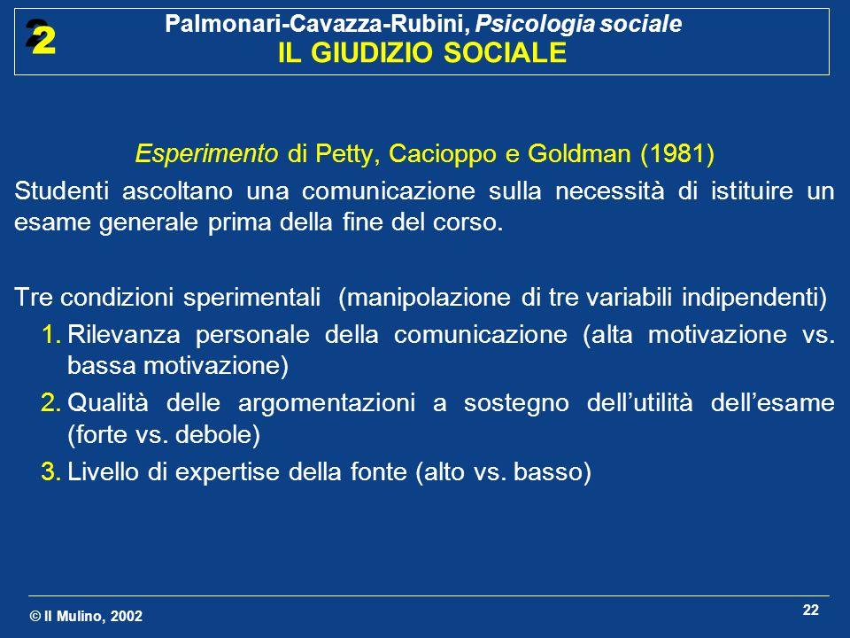Esperimento di Petty, Cacioppo e Goldman (1981)