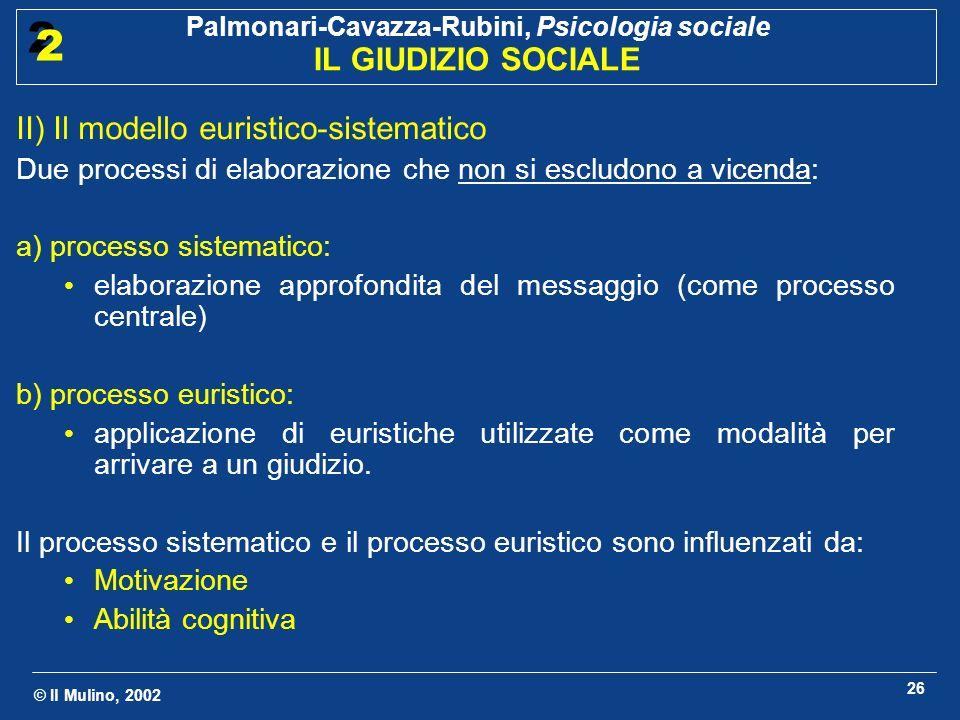 II) Il modello euristico-sistematico
