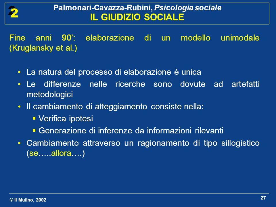 Fine anni 90': elaborazione di un modello unimodale (Kruglansky et al