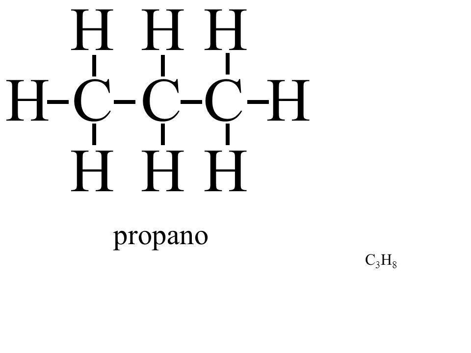 H H H H C C C H H H H propano C3H8