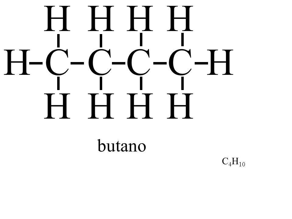 H H H H H C C C C H H H H H butano C4H10