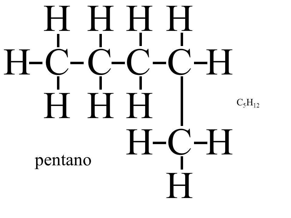 H H H H H C C C C H H H H C5H12 H C H pentano H