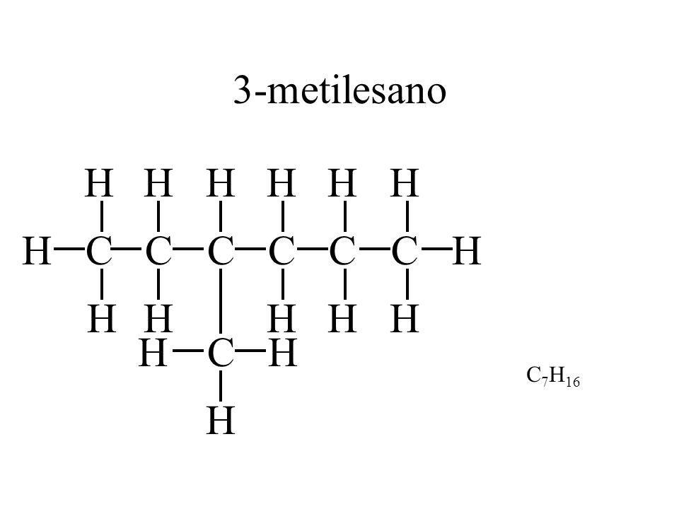 3-metilesano H H H H H C H H C C C C C H H H H H H C H C7H16 H