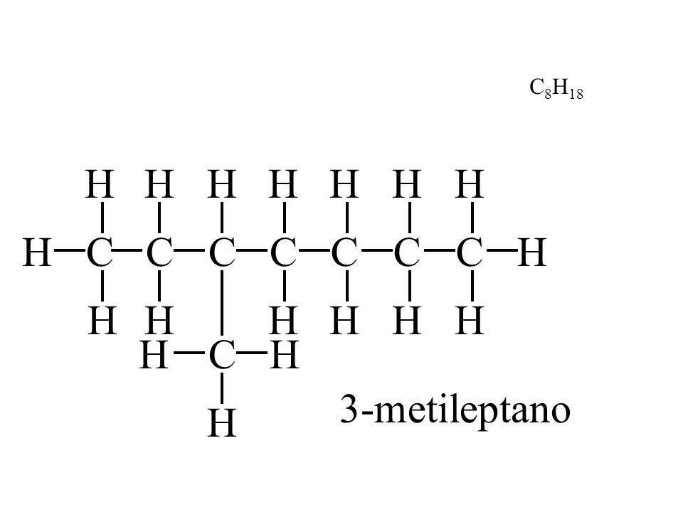 C8H18 H H H H H C H C H H C C C C C H H H H H H C H 3-metileptano H