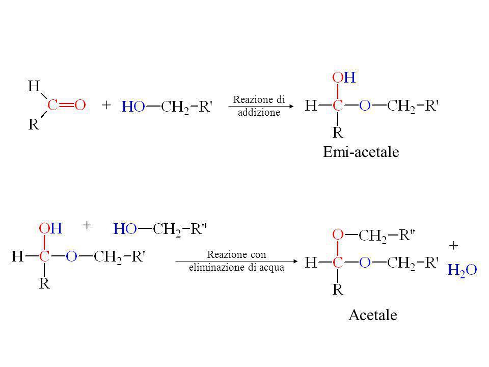 + Emi-acetale + + Acetale Reazione di addizione Reazione con