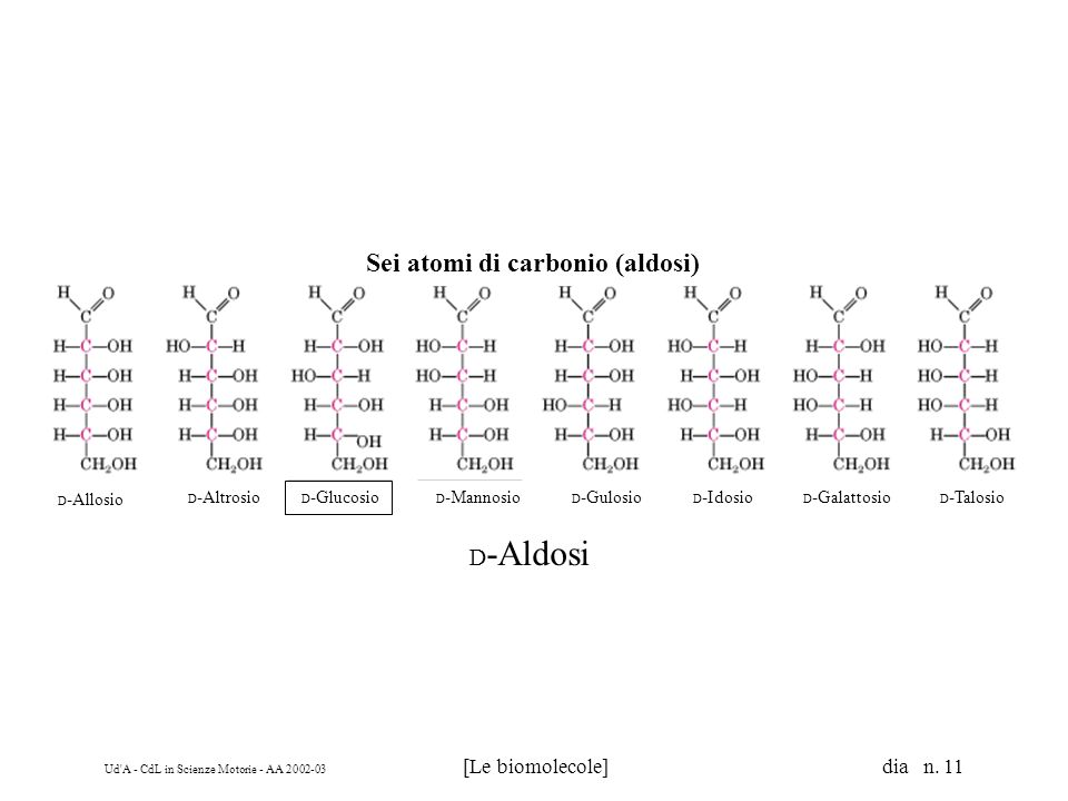 Sei atomi di carbonio (aldosi)