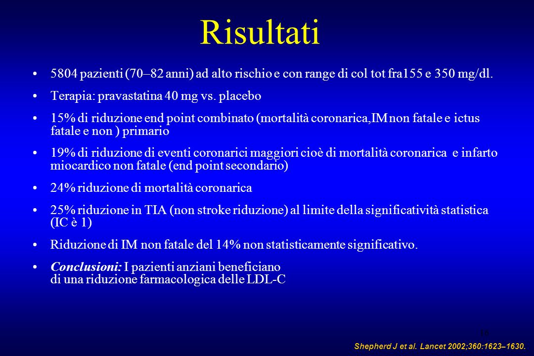 Risultati 5804 pazienti (70–82 anni) ad alto rischio e con range di col tot fra155 e 350 mg/dl. Terapia: pravastatina 40 mg vs. placebo.