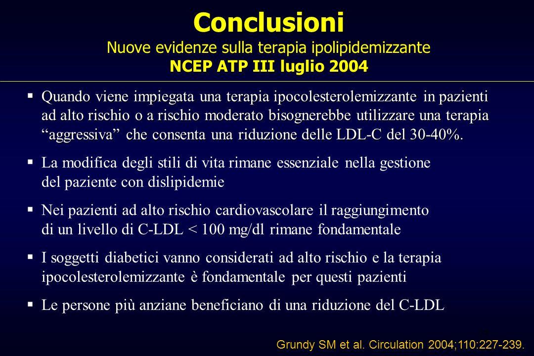 Conclusioni Nuove evidenze sulla terapia ipolipidemizzante NCEP ATP III luglio 2004
