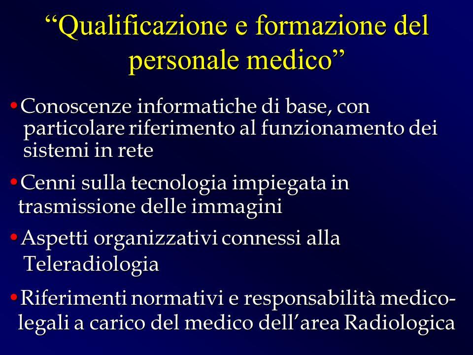 Qualificazione e formazione del personale medico