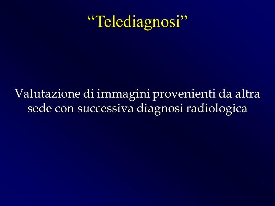 Telediagnosi Valutazione di immagini provenienti da altra sede con successiva diagnosi radiologica.