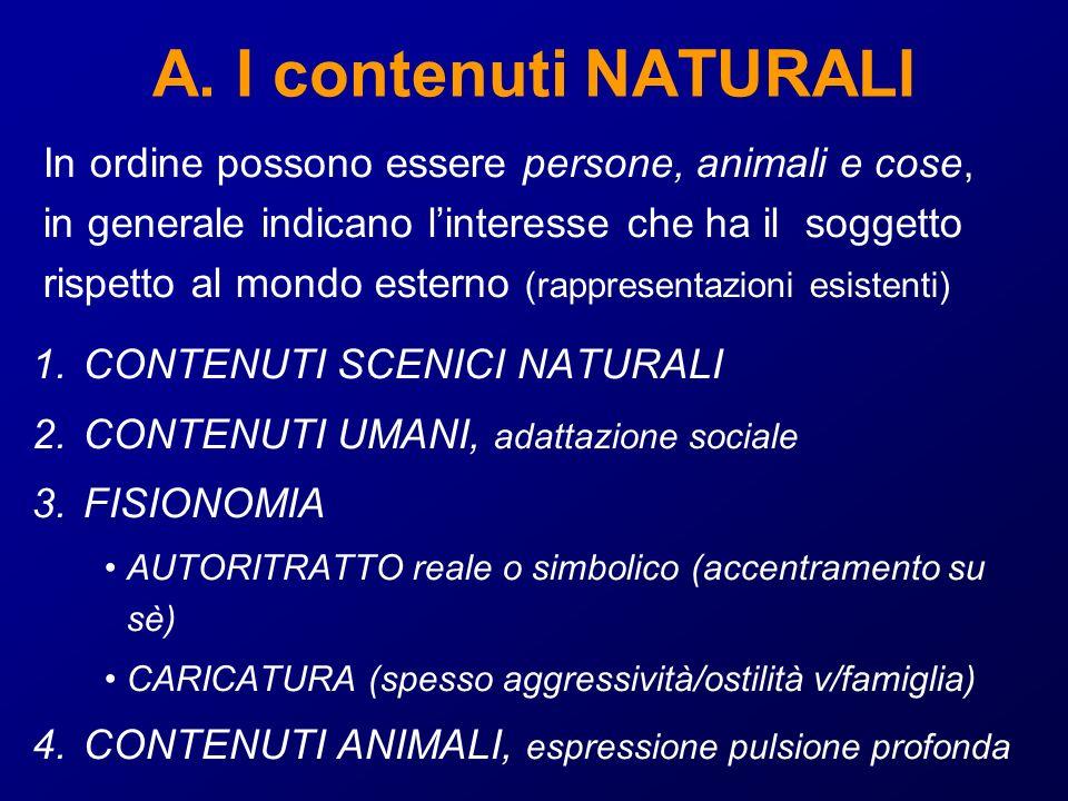 A. I contenuti NATURALI In ordine possono essere persone, animali e cose, in generale indicano l'interesse che ha il soggetto.