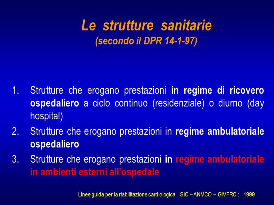 Le strutture sanitarie (secondo il DPR 14-1-97)
