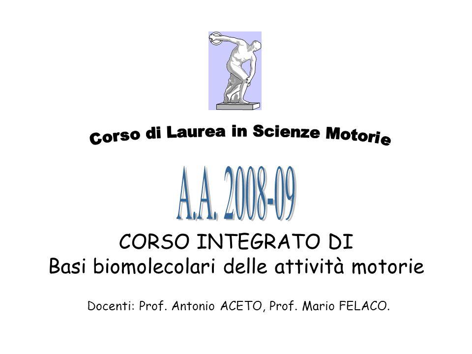 CORSO INTEGRATO DI Basi biomolecolari delle attività motorie