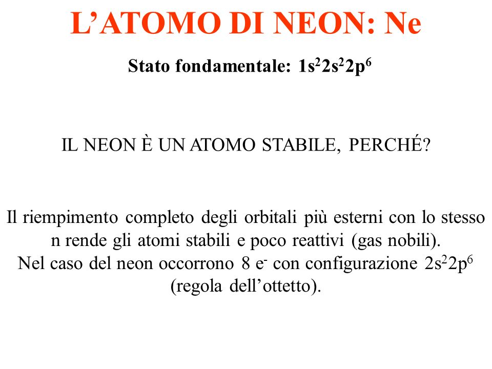 L'ATOMO DI NEON: Ne Stato fondamentale: 1s22s22p6