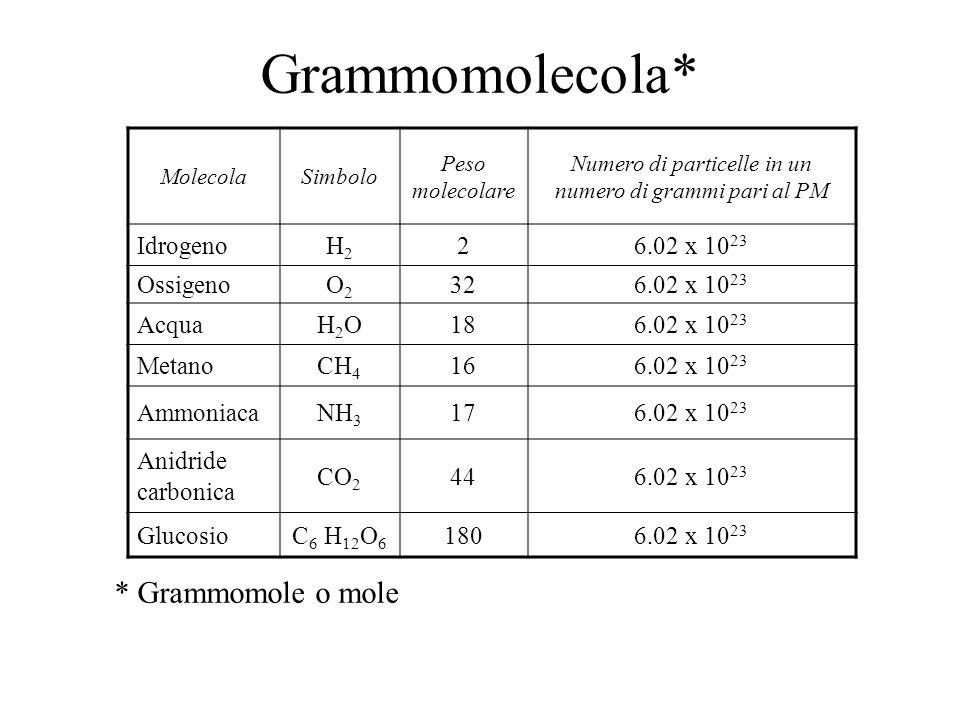 Numero di particelle in un numero di grammi pari al PM