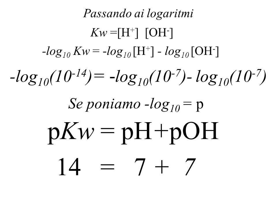 pKw = pH+pOH 14 = 7 + 7 -log10(10-14) = -log10(10-7)- log10(10-7)