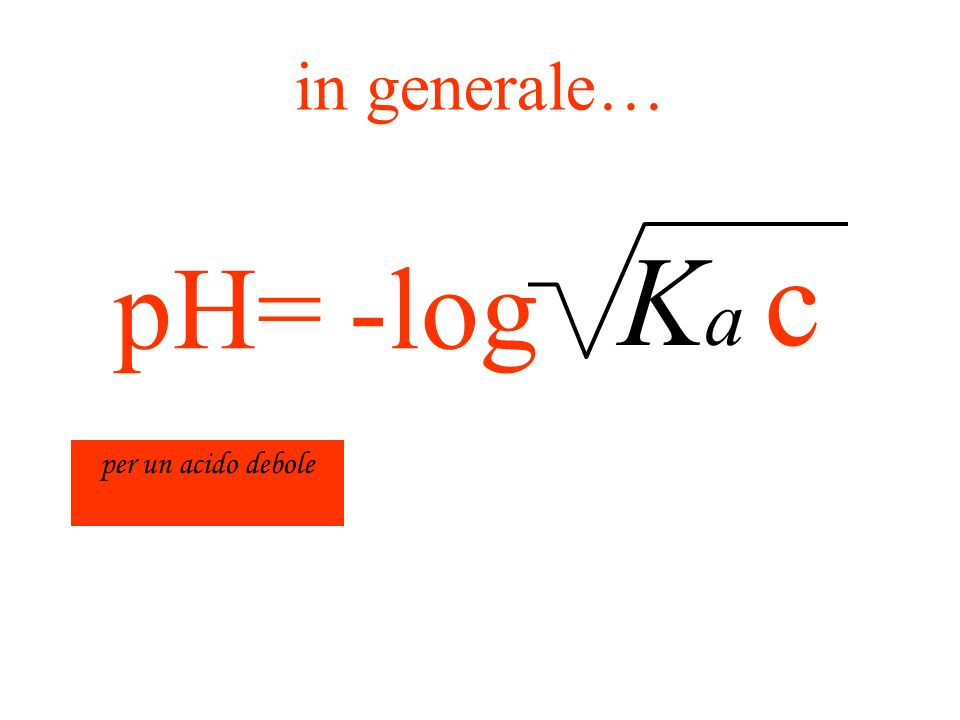 in generale… Ka c -log pH= per un acido debole
