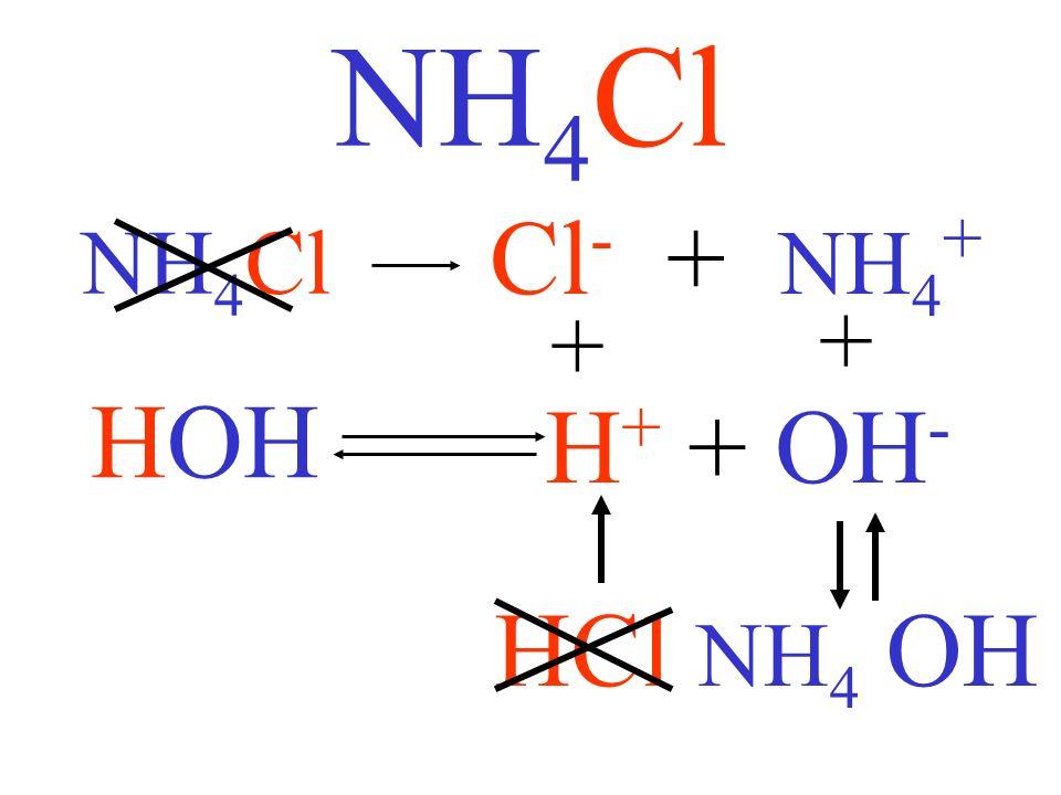 NH4Cl Cl- + NH4+ NH4Cl + + HOH H+ + OH- HCl NH4 OH