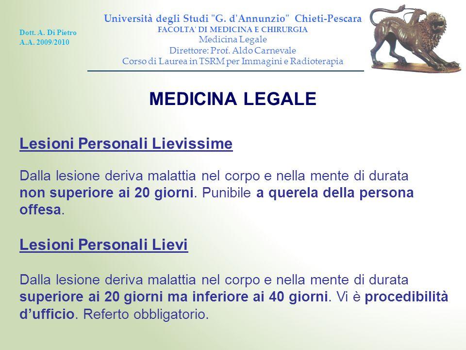 MEDICINA LEGALE Lesioni Personali Lievissime Lesioni Personali Lievi