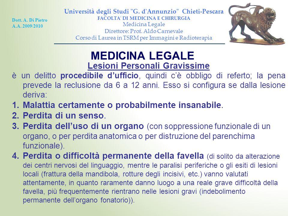 MEDICINA LEGALE Lesioni Personali Gravissime