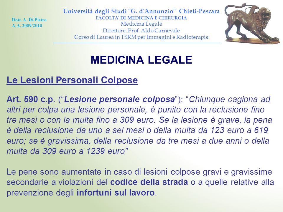 MEDICINA LEGALE Le Lesioni Personali Colpose