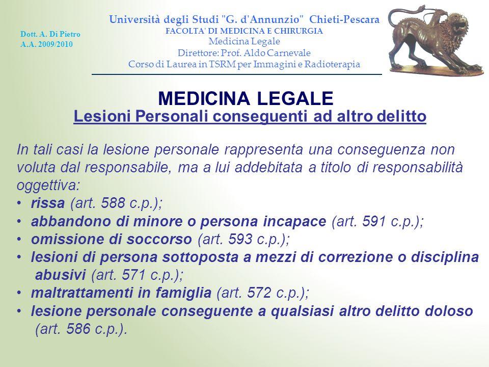 MEDICINA LEGALE Lesioni Personali conseguenti ad altro delitto