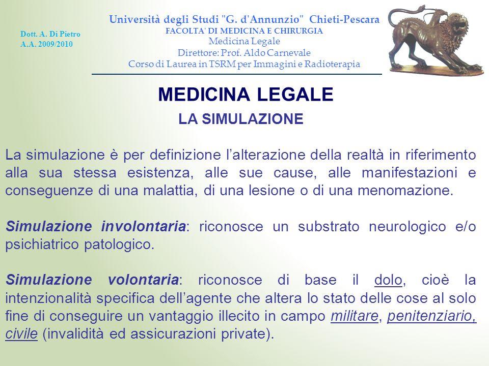 MEDICINA LEGALE LA SIMULAZIONE