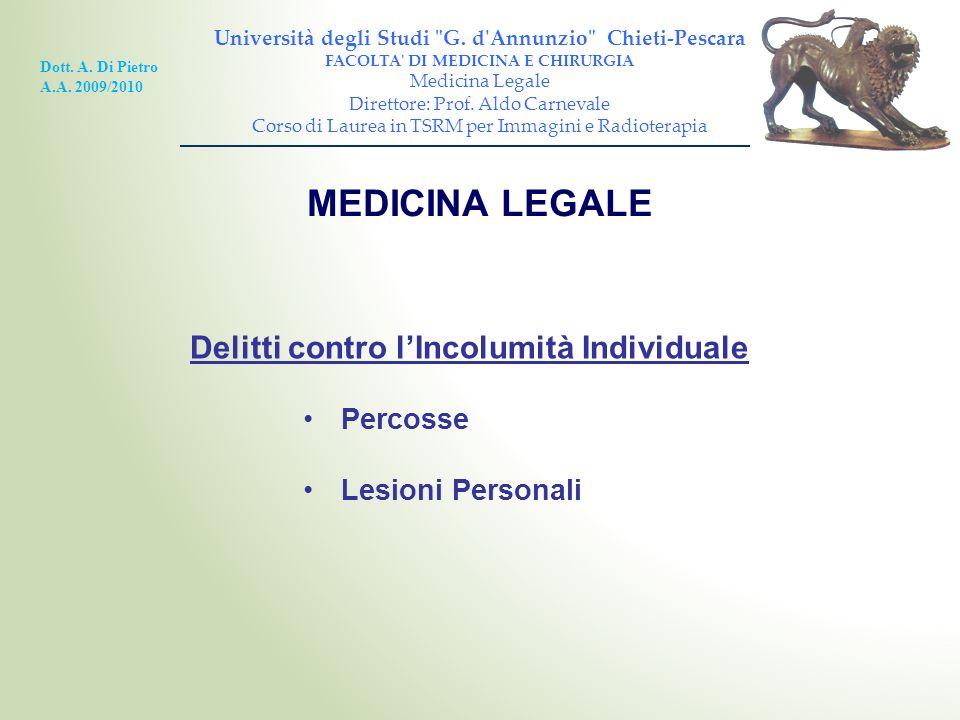 MEDICINA LEGALE Delitti contro l'Incolumità Individuale Percosse