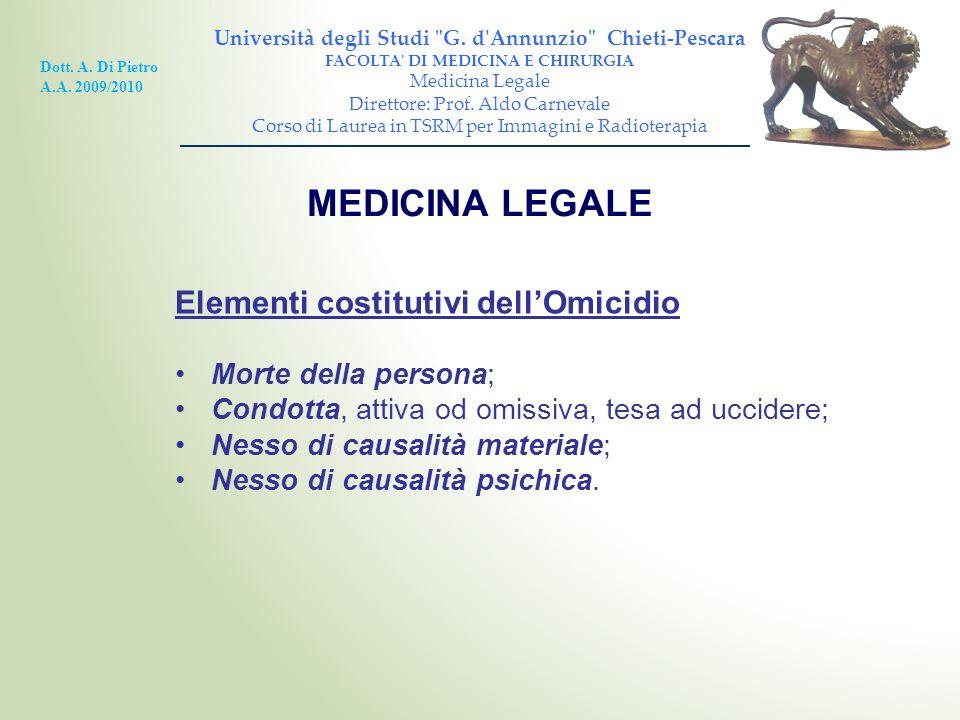 MEDICINA LEGALE Elementi costitutivi dell'Omicidio