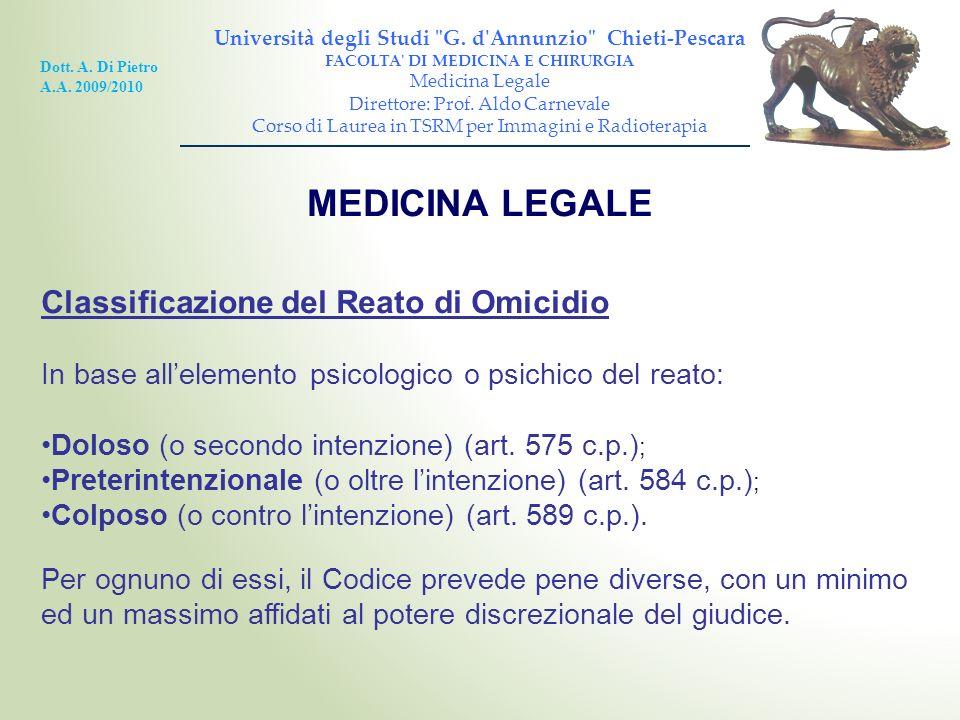 MEDICINA LEGALE Classificazione del Reato di Omicidio