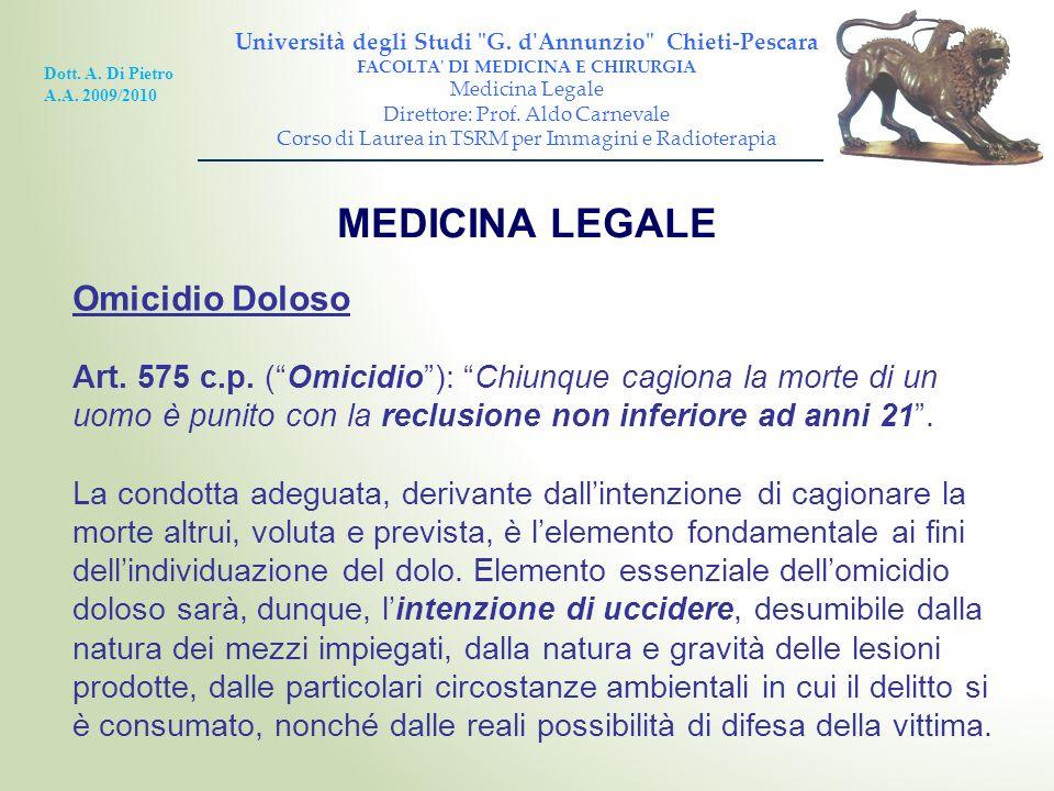 MEDICINA LEGALE Omicidio Doloso