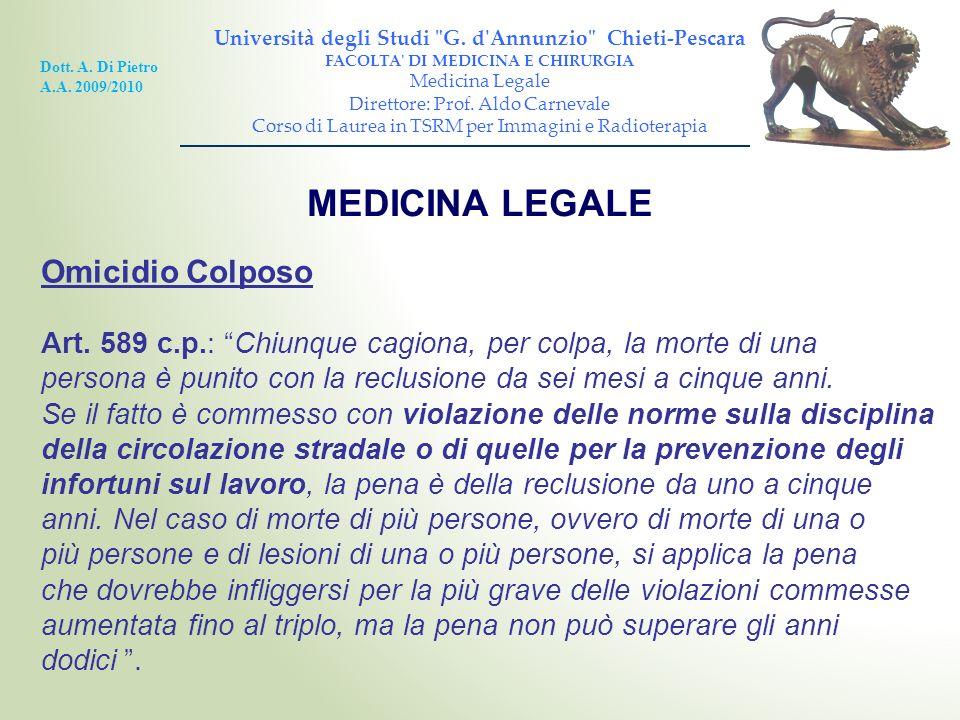 MEDICINA LEGALE Omicidio Colposo