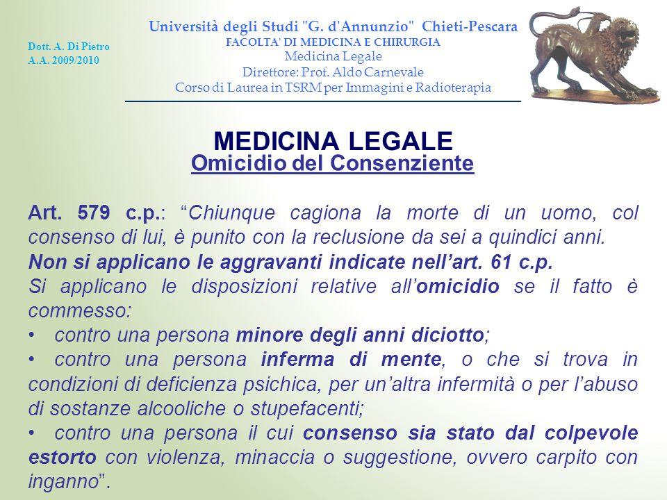 MEDICINA LEGALE Omicidio del Consenziente