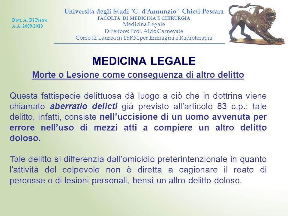 MEDICINA LEGALE Morte o Lesione come conseguenza di altro delitto