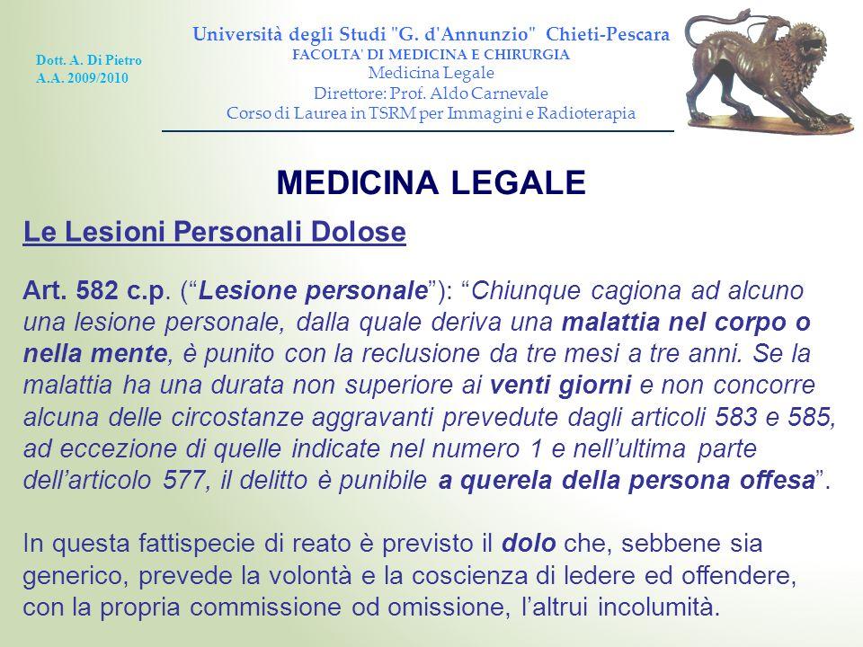 MEDICINA LEGALE Le Lesioni Personali Dolose