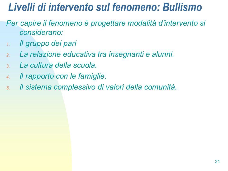 Livelli di intervento sul fenomeno: Bullismo