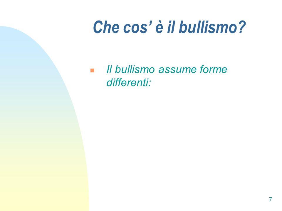 Che cos' è il bullismo Il bullismo assume forme differenti: