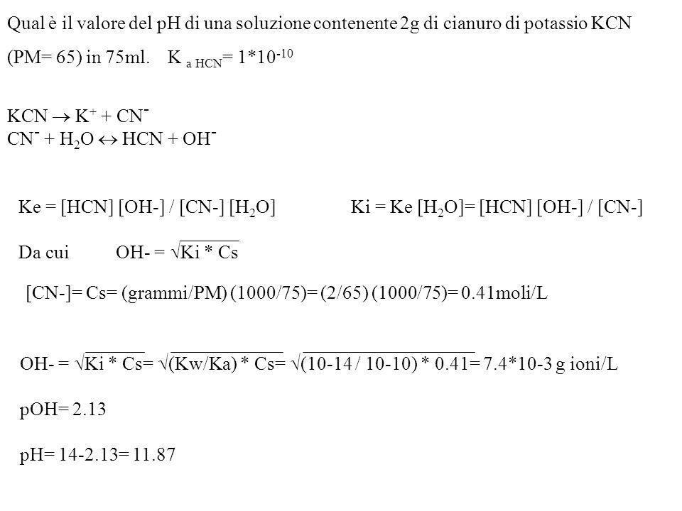 Qual è il valore del pH di una soluzione contenente 2g di cianuro di potassio KCN (PM= 65) in 75ml. K a HCN= 1*10-10