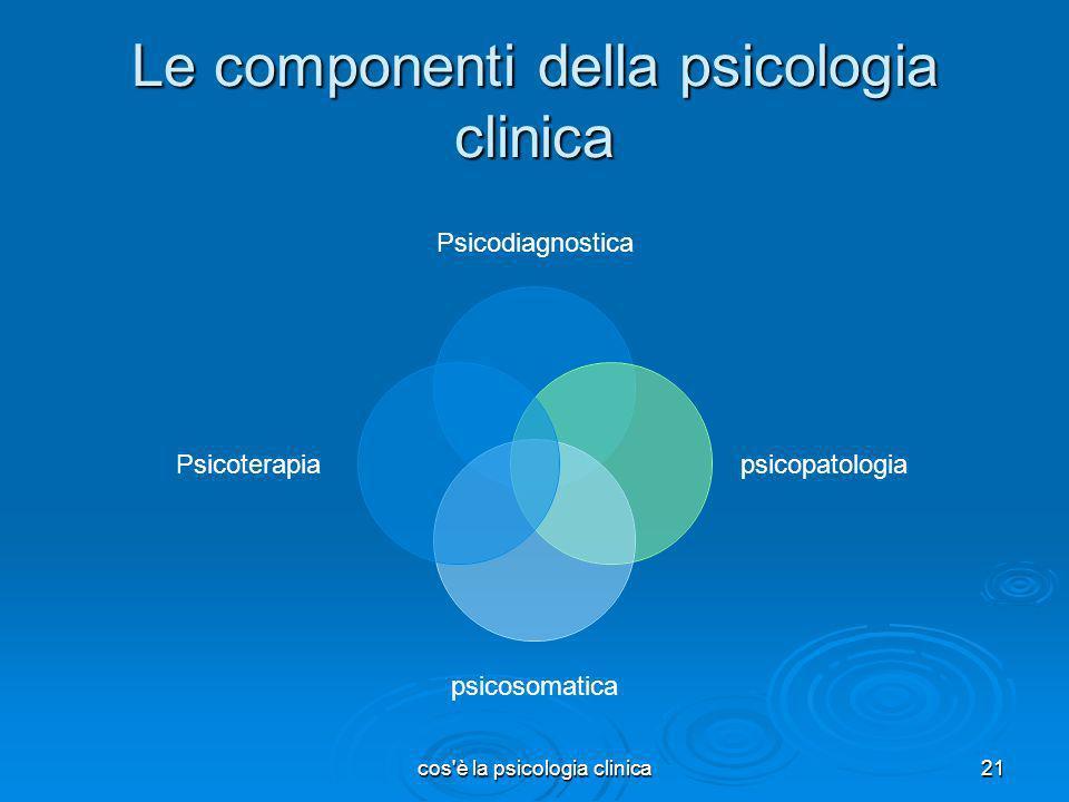 Le componenti della psicologia clinica