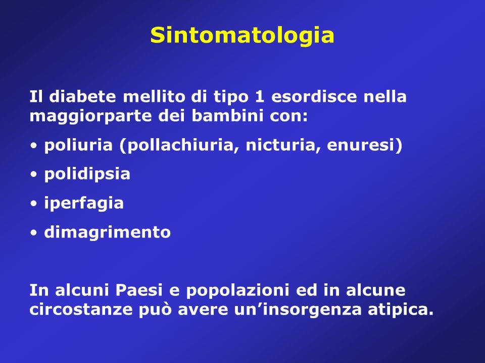 Sintomatologia Il diabete mellito di tipo 1 esordisce nella maggiorparte dei bambini con: poliuria (pollachiuria, nicturia, enuresi)