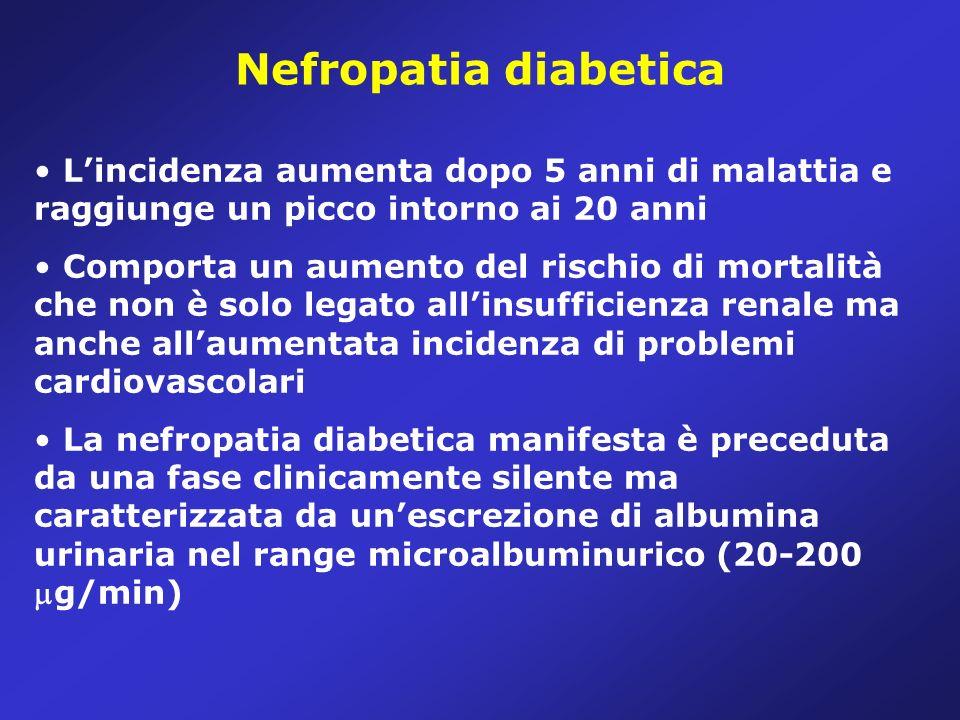 Nefropatia diabetica L'incidenza aumenta dopo 5 anni di malattia e raggiunge un picco intorno ai 20 anni.