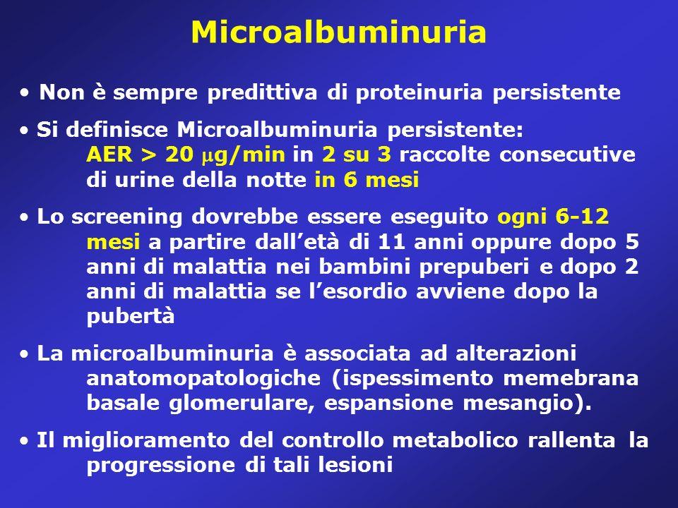Microalbuminuria Non è sempre predittiva di proteinuria persistente